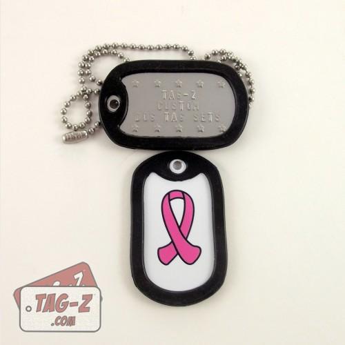 Tag-Z Breast Cancer Awareness Pink Ribbon Dog Tag Set
