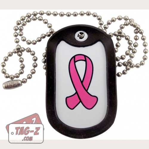 Tag-Z Breast Cancer Awareness Pink Ribbon Dog Tag Necklace