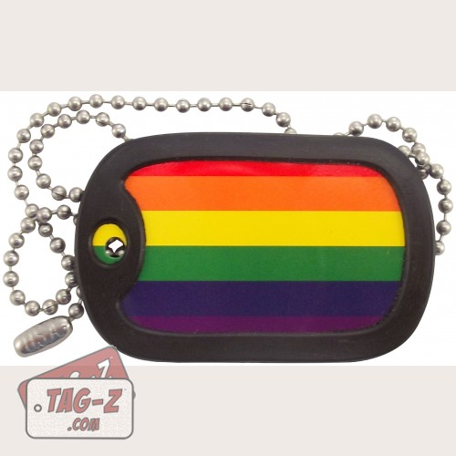 Tag-Z Gay Pride Flag Dog Tag Necklace