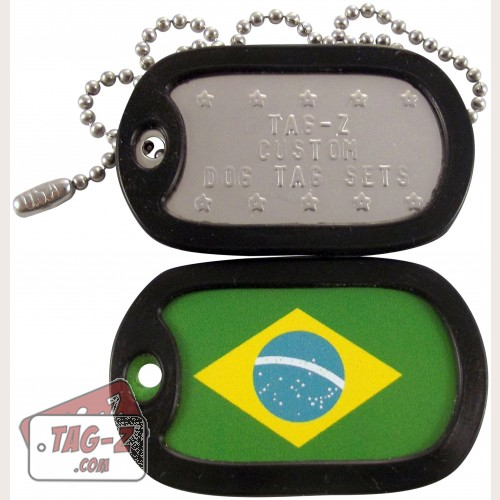 Tag-Z Brazilian Flag Dog Tag Set