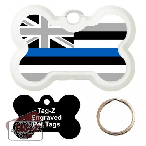 Hawaii Blue Line Flag Custom ENGRAVED Pet Tag Tag-Z - Bone Shape