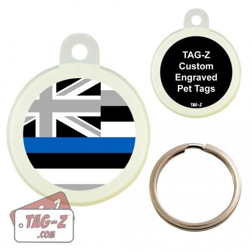 Hawaii Blue Line Flag Custom ENGRAVED Pet Tag Circle Tag-Z