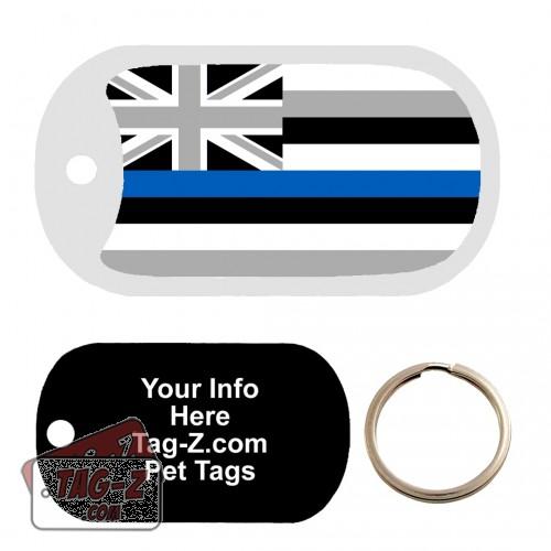 Hawaii Blue Line Flag Custom ENGRAVED Pet Tag Tag-Z