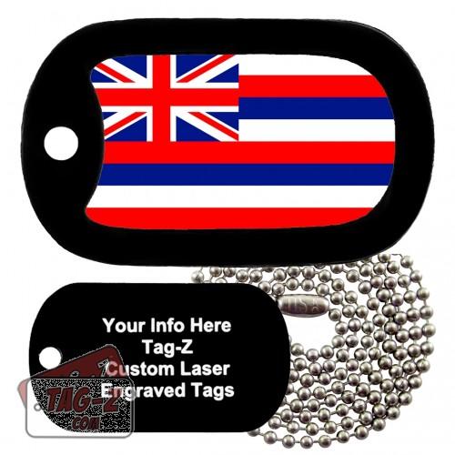 HAWAII FLAG Custom ENGRAVED Necklace Tag-Z