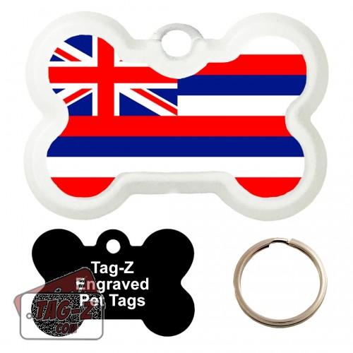 HAWAII FLAG Custom ENGRAVED Pet Tag Tag-Z - Bone Shape