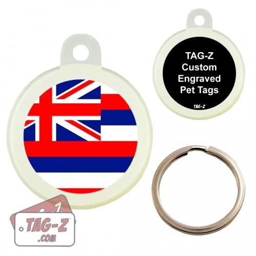 Tag-Z HAWAII FLAG Custom ENGRAVED Pet Tag Circle