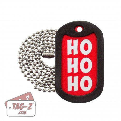 HO HO HO Christmas Dog Tag Necklace