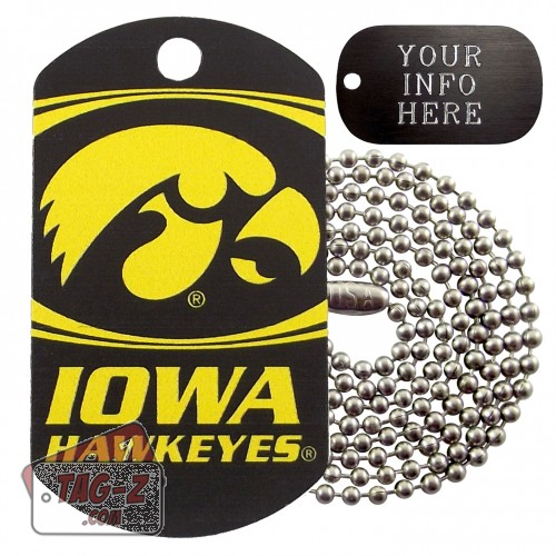 Iowa Hawkeyes NCAA Military Dog Tag Necklace