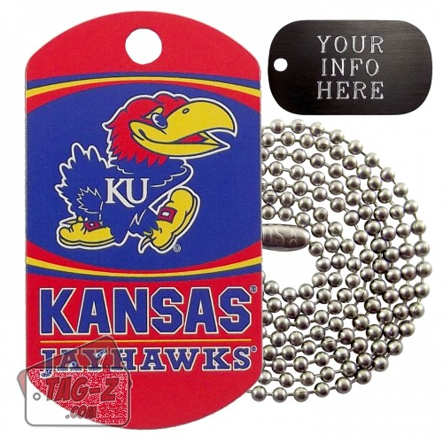 Kansas Jayhawks NCAA Military Dog Tag Necklace