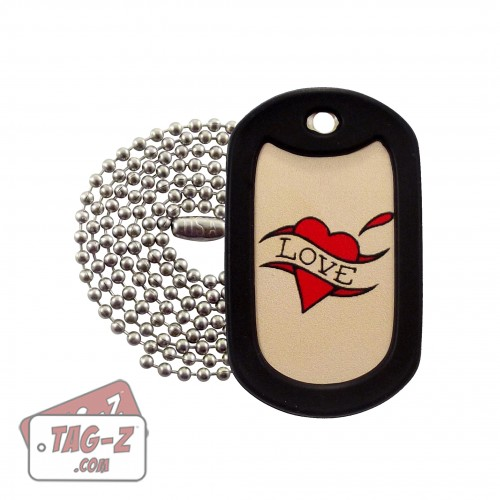 Tag-Z Love Heart Tagtoo-Z Dog Tag Necklace