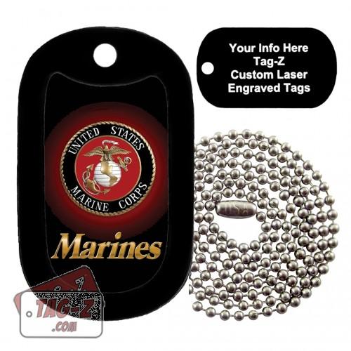 MARINES LOGO - USMC Custom ENGRAVED Necklace Tag-Z