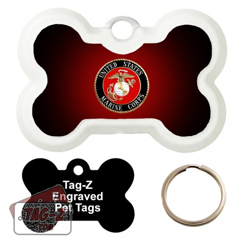 Marines Logo - USMC Custom ENGRAVED Pet Tag Tag-Z - Bone Shape