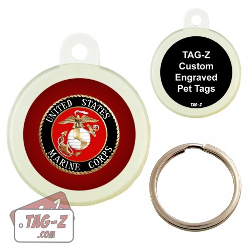 Tag-Z Marines Logo - USMC Custom ENGRAVED Pet Tag Circle