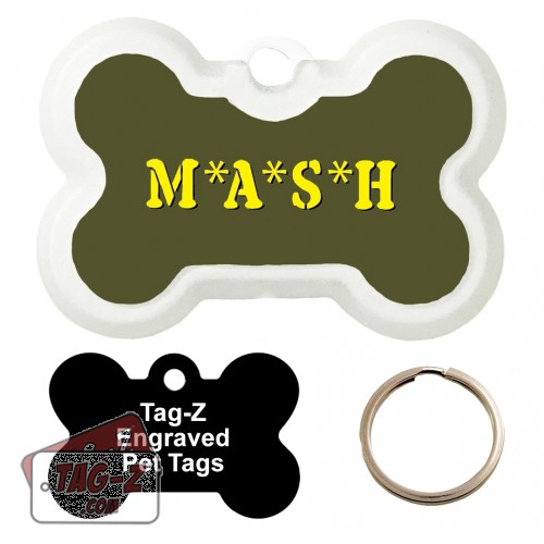 MASH Custom ENGRAVED Pet Tag Tag-Z - Bone Shape