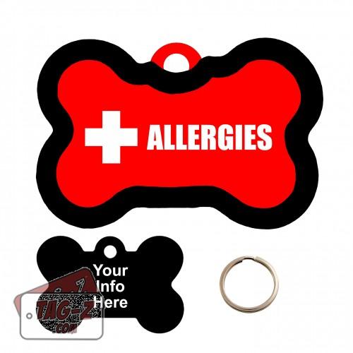 Medical Alert Allergies Bone Shape Pet Tag