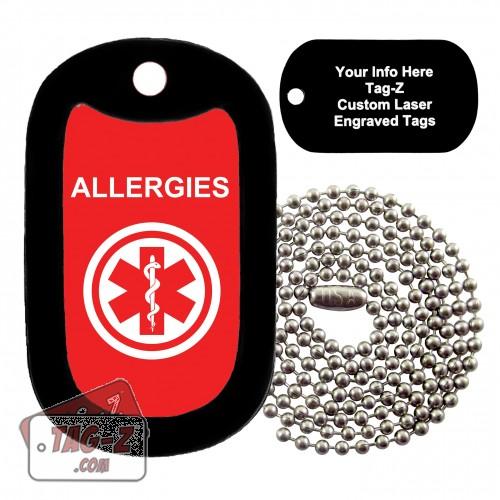 MEDICAL ALERT ALLERGIES Custom ENGRAVED Necklace Tag-Z