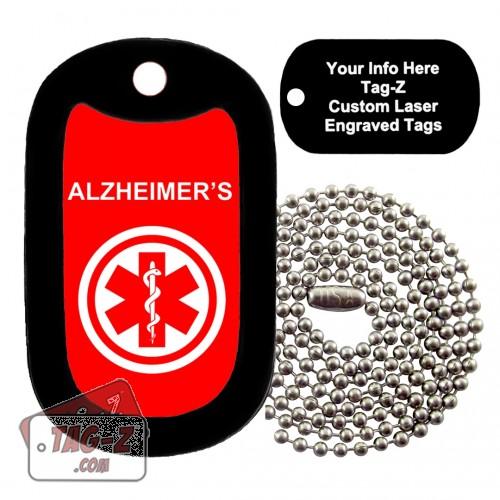 MEDICAL ALERT ALZHEIMERS Custom ENGRAVED Necklace Tag-Z