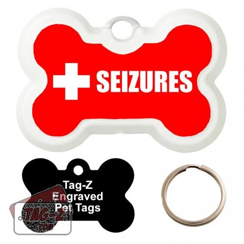 Medical Alert - Seizures Custom ENGRAVED Pet Tag Tag-Z - Bone Shape