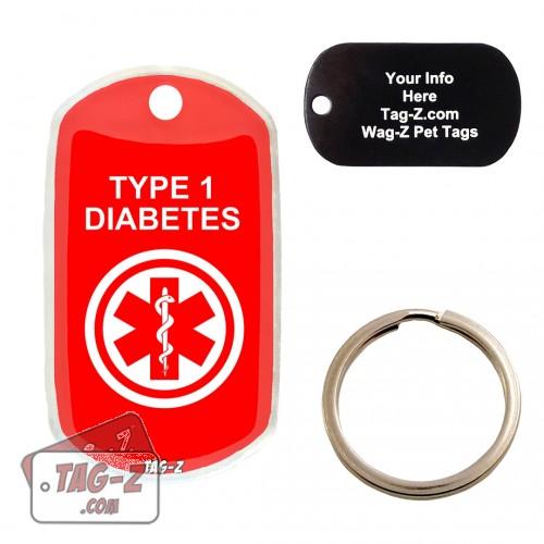 Medical Alert - Type 1 Diabetes Custom ENGRAVED Pet Tag Tag-Z