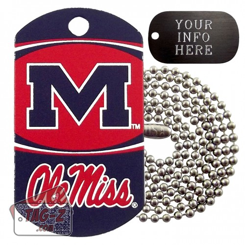 Mississippi Ole Miss NCAA Military Dog Tag Necklace