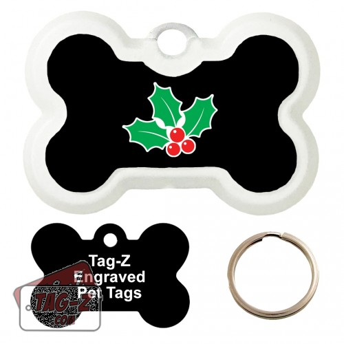 MISTLETOE Custom ENGRAVED Pet Tag Tag-Z - Bone Shape