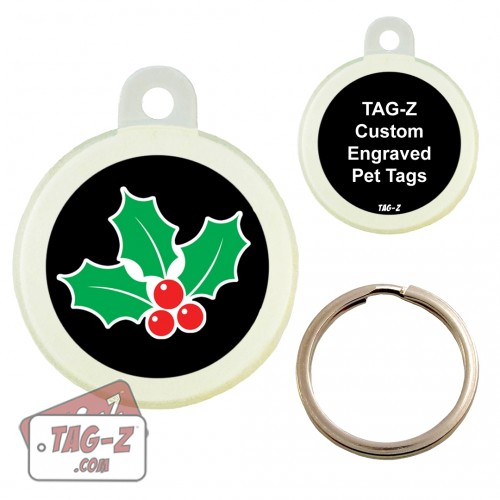 Tag-Z MISTLETOE Custom ENGRAVED Pet Tag Circle