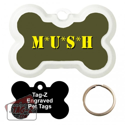 MUSH Custom ENGRAVED Pet Tag Tag-Z - Bone Shape