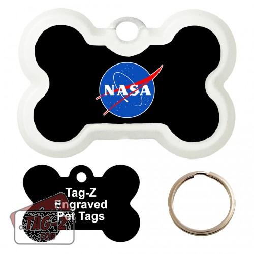 Nasa Logo Custom ENGRAVED Pet Tag Tag-Z - Bone Shape
