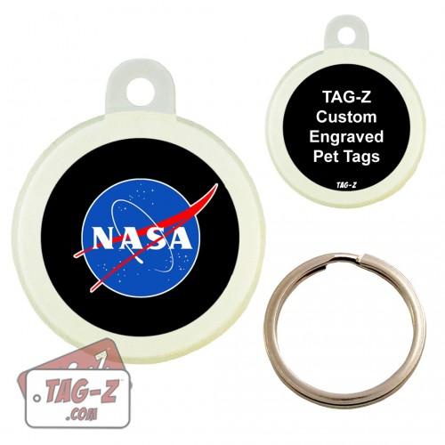 Nasa Logo Custom ENGRAVED Pet Tag Circle Tag-Z