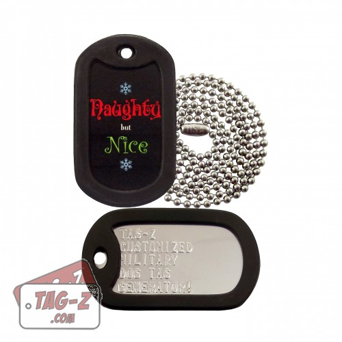 Naughty but Nice Christmas Dog Tag Set