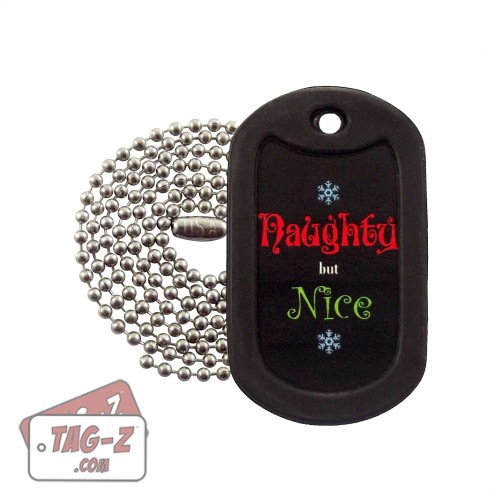 Naughty but Nice Christmas Dog Tag Necklace