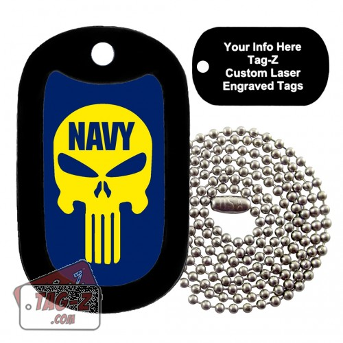NAVY EVIL SKULL Custom ENGRAVED Necklace Tag-Z