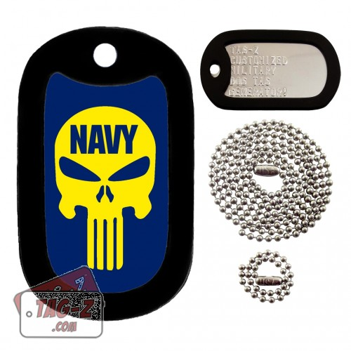 NAVY EVIL SKULL Dog Tag Full Set Tag-Z