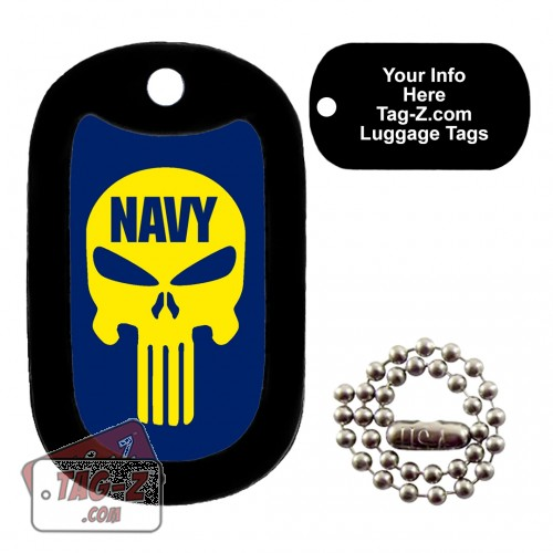 NAVY EVIL SKULL LUGGAGE TAG Tag-Z