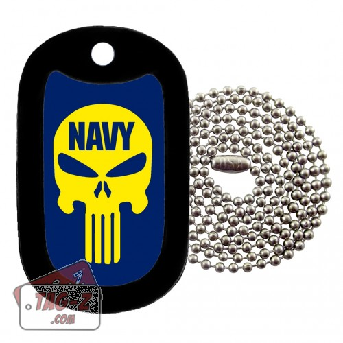 NAVY EVIL SKULL Dog Tag Necklace