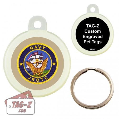 Navy JROTC Patch Custom ENGRAVED Pet Tag Circle Tag-Z