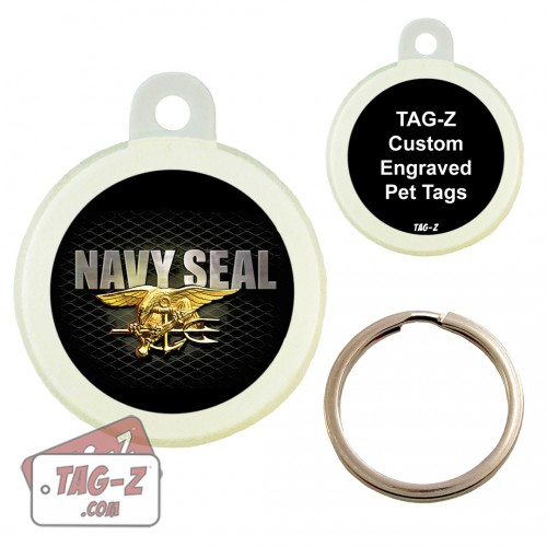 NAVY SEAL Custom ENGRAVED Pet Tag Circle Tag-Z