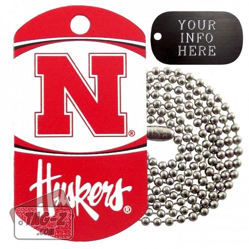 Nebraska Cornhuskers NCAA Military Dog Tag Necklace