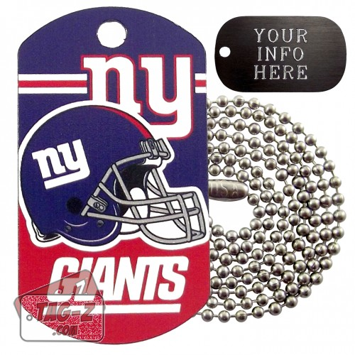 New York Giants NFL Military Dog Tag Necklace