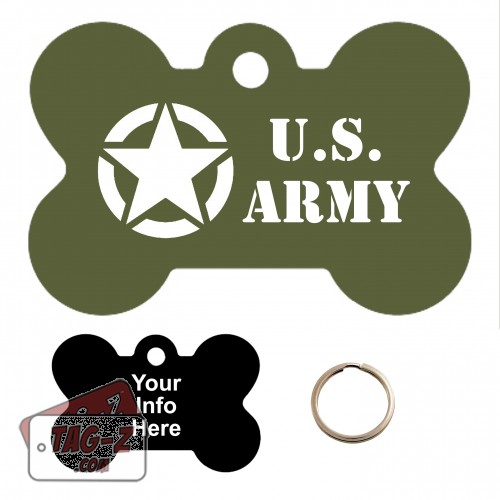 Old Army Jeep Logo Custom ENGRAVED Pet Tag Tag-Z - Bone