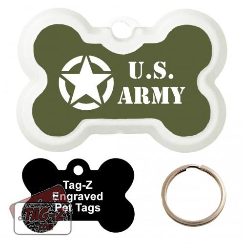 Old Army Jeep Logo Custom ENGRAVED Pet Tag Tag-Z - Bone