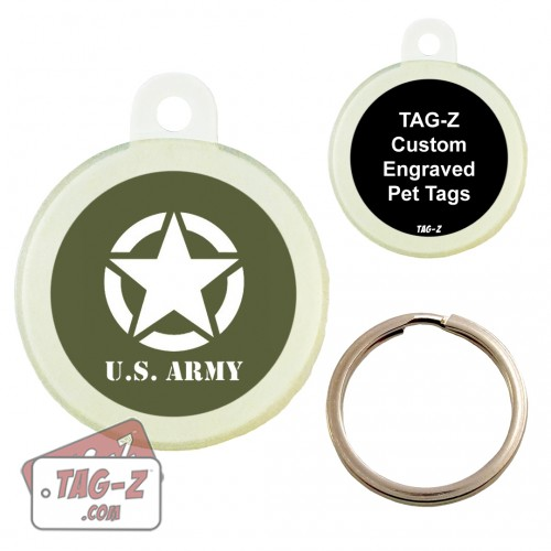 Tag-Z Old Army Jeep Logo Custom ENGRAVED Pet Tag Circle