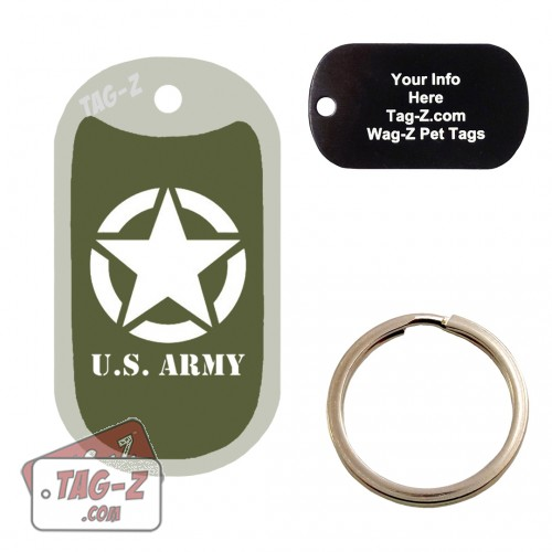 Old Army Jeep Logo Custom ENGRAVED Pet Tag Tag-Z