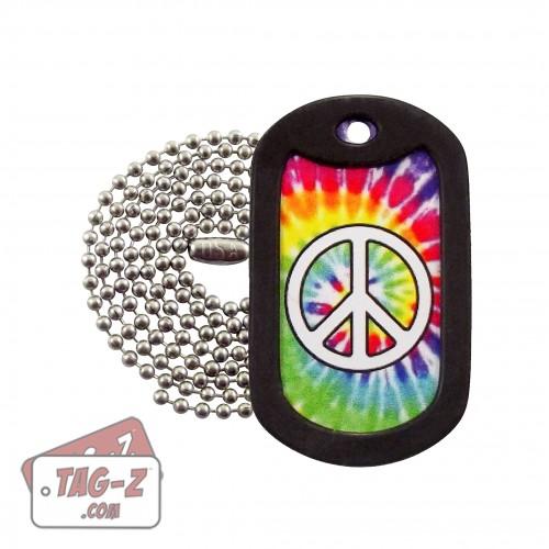 Peace Symbol Tie Dye Dog Tag Necklace