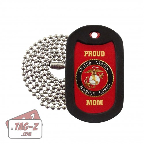 Proud USMC Mom Marines Dog Tag Necklace