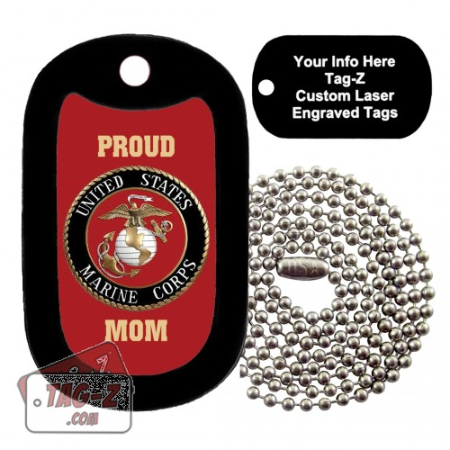 PROUD USMC MOM RED Custom ENGRAVED Necklace Tag-Z