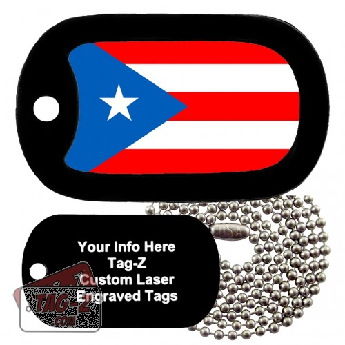 PUERTO RICO FLAG Custom ENGRAVED Necklace Tag-Z