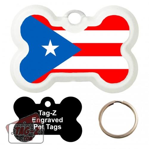 PUERTO RICO FLAG Custom ENGRAVED Pet Tag Tag-Z - Bone Shape