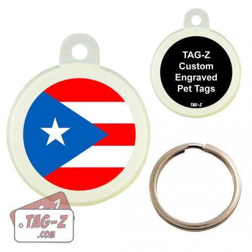 Tag-Z PUERTO RICO FLAG Custom ENGRAVED Pet Tag Circle