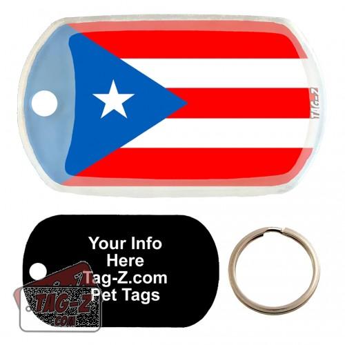 PUERTO RICO FLAG Custom ENGRAVED Pet Tag Tag-Z